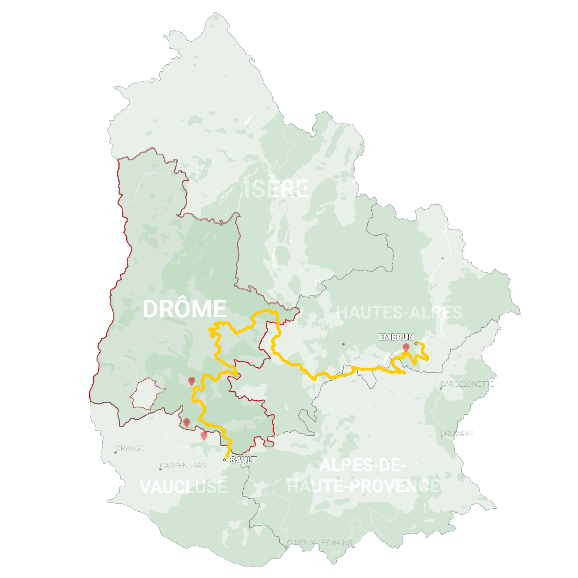 GLR 7 Region Drôme Map Overview