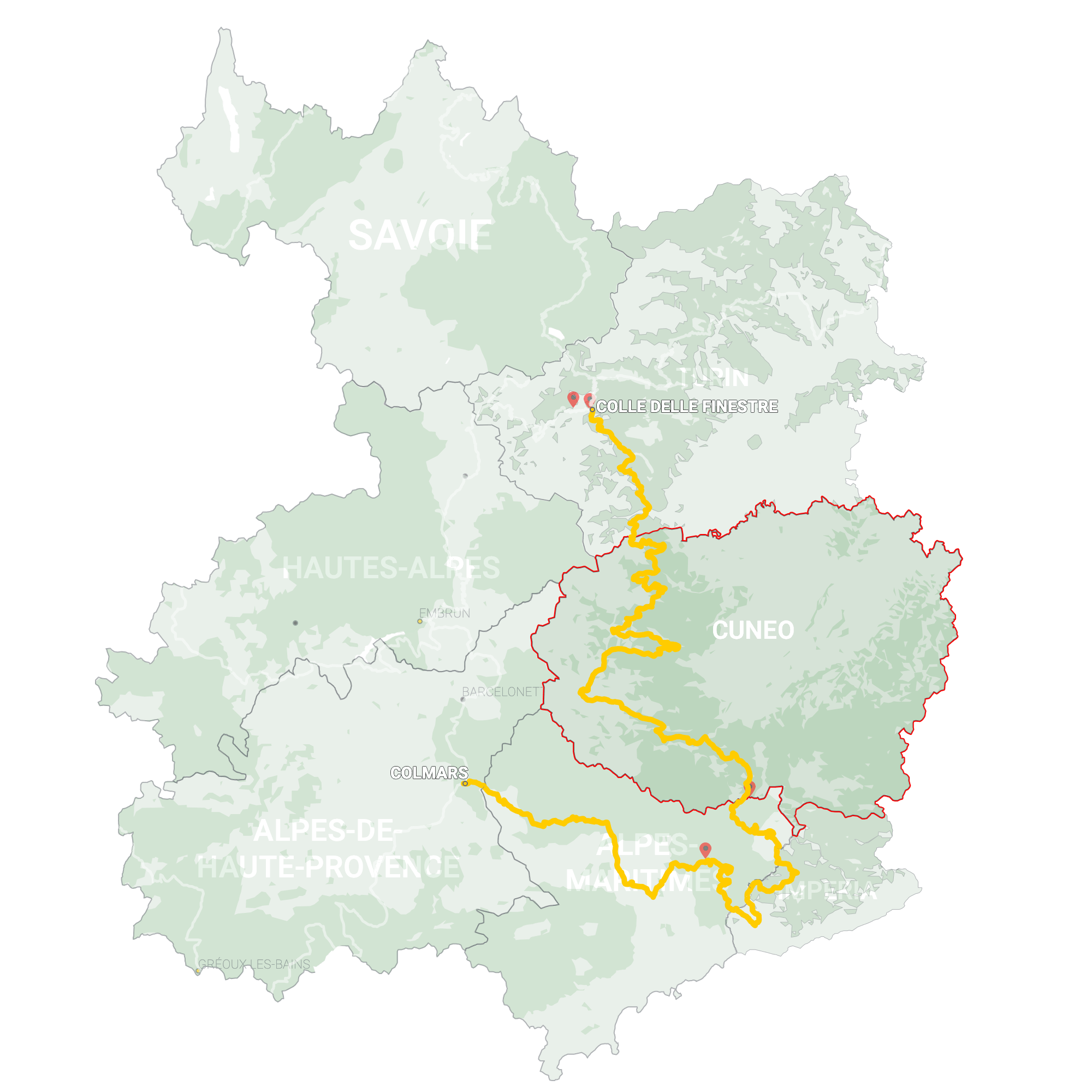 GLR 9 Region Cuneo Map Overview