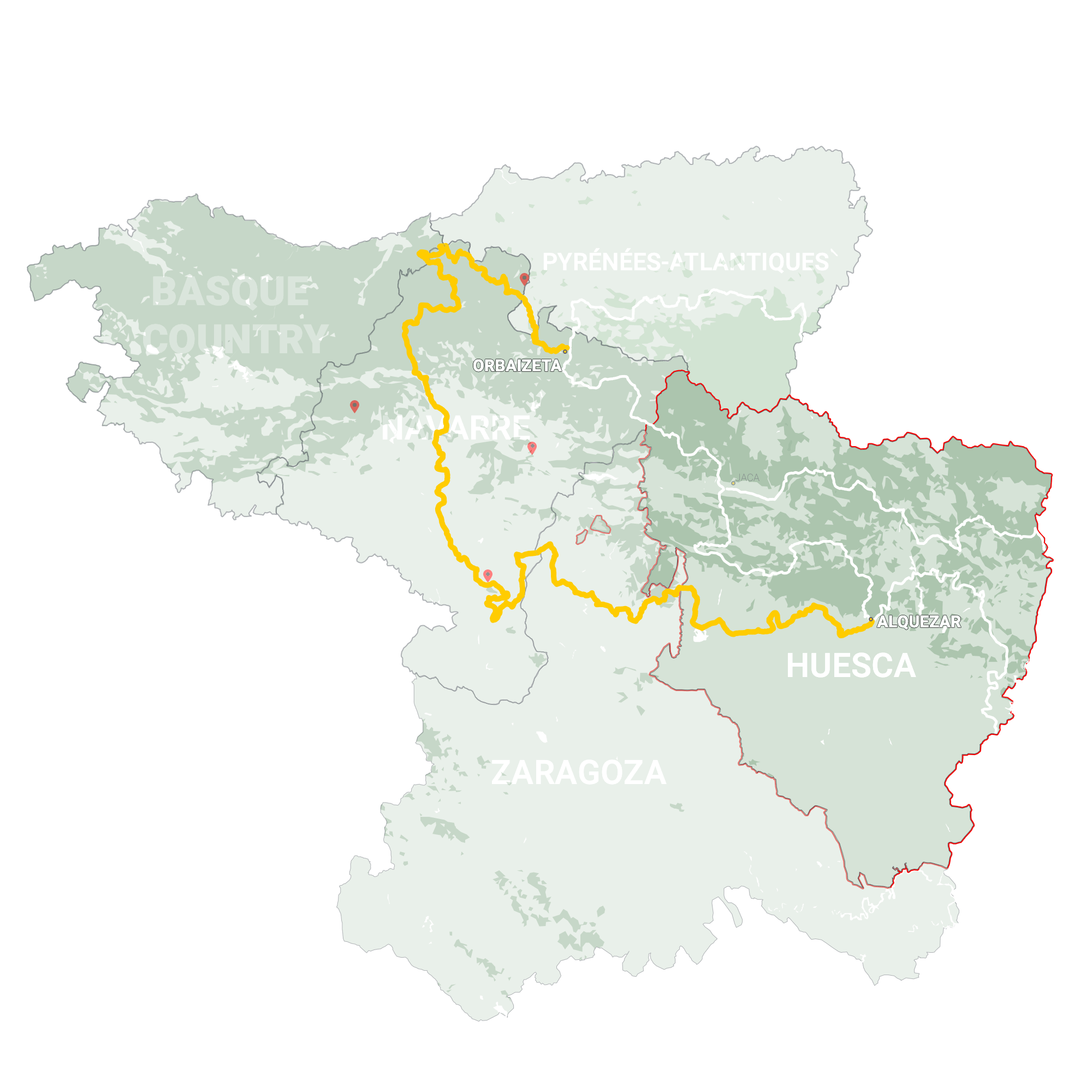 GLR 25 Region Huesca Map Overview