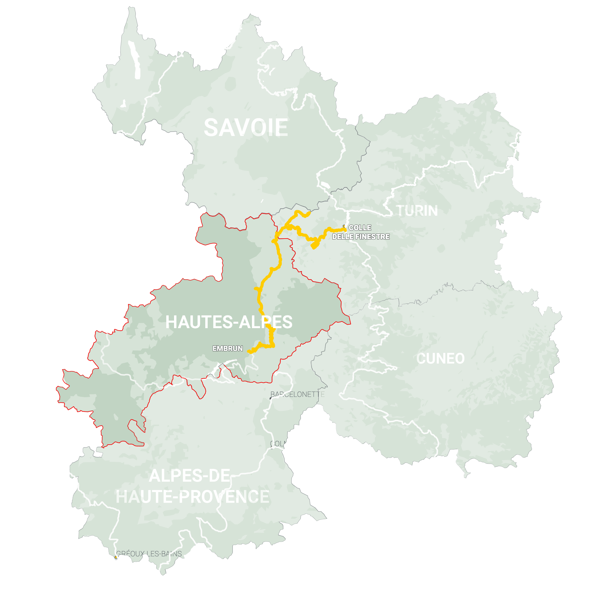 GLR 30 Region Hautes-Alpes Map Overview